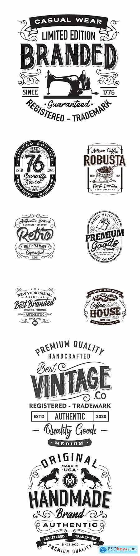Vintage logo and emblem set elements design and posters 2