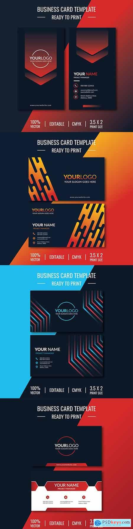 Business card template design on dark background