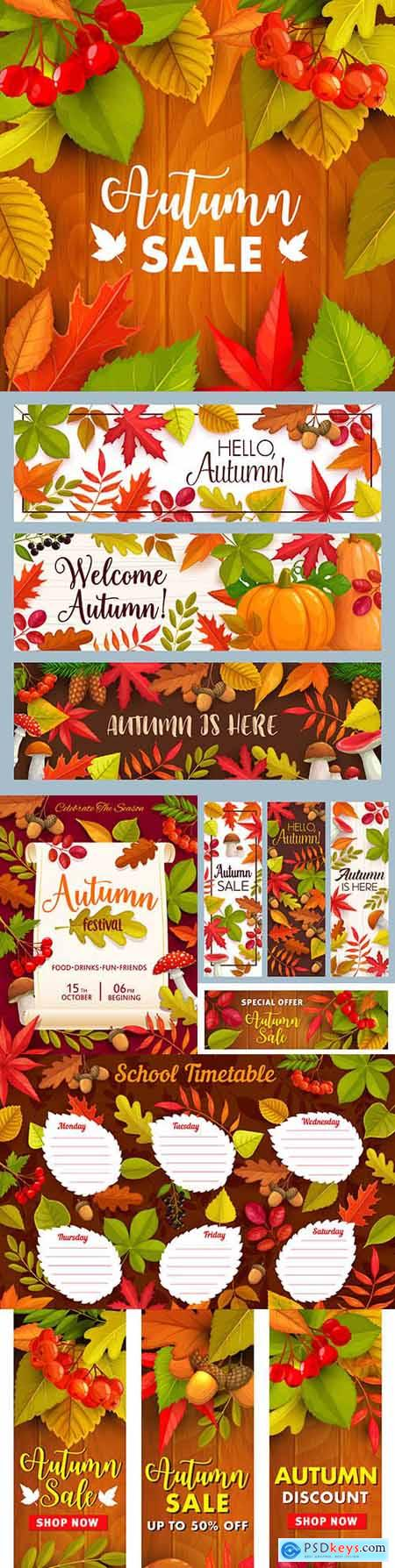 Autumn sale season discount and price illustration poster