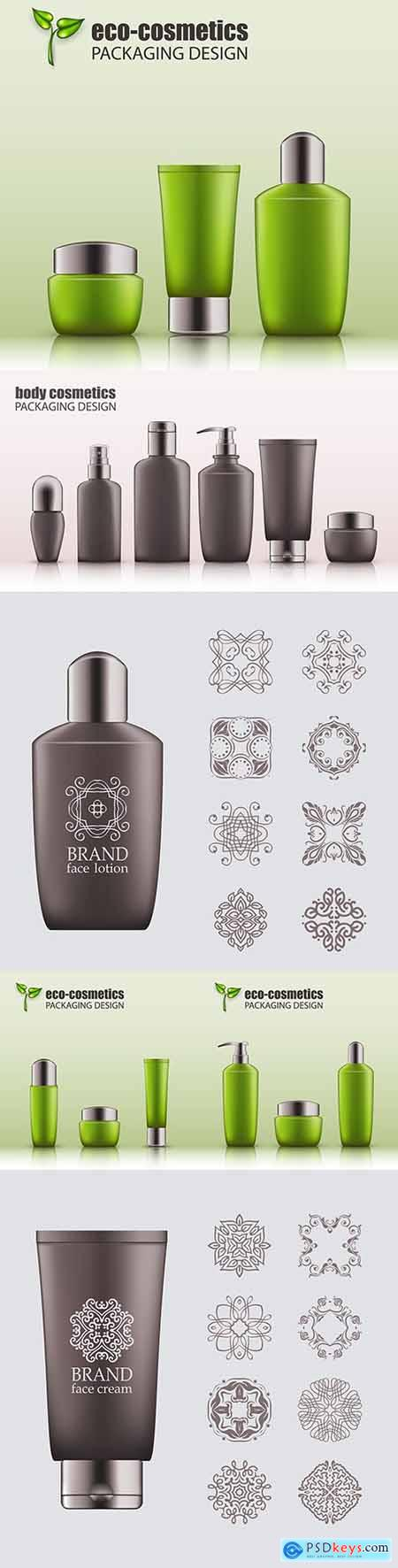 Body cosmetics set Brand name with place for text 3d illustration