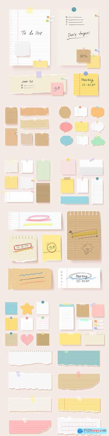 Clipping papers blank pages notebook illustration