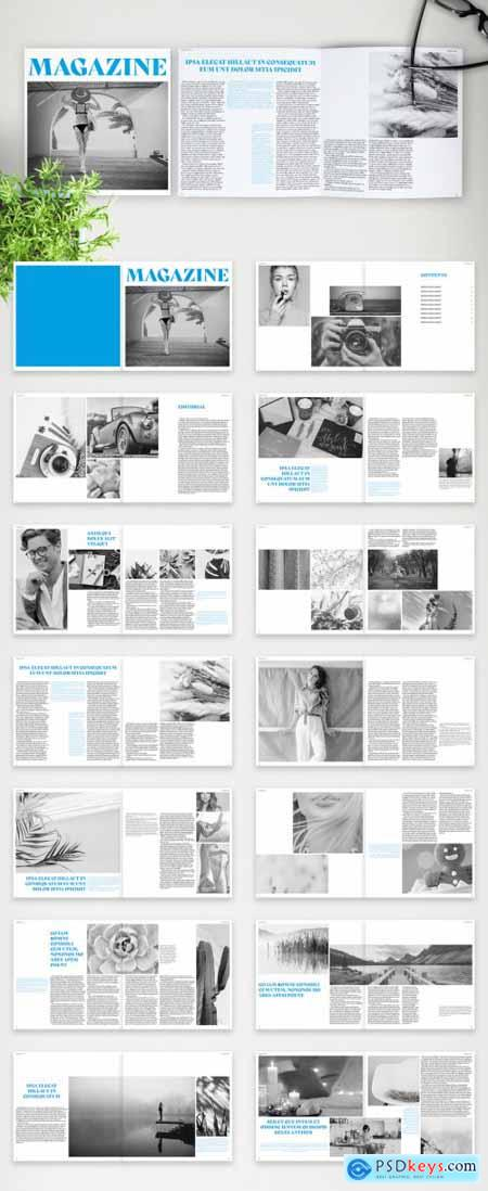 Modern Square Brochure Layout with Blue Accents 375909412