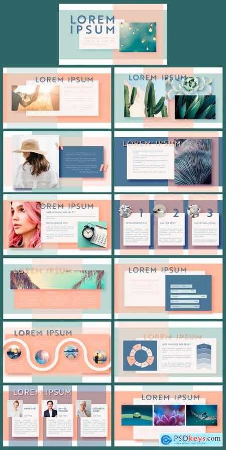 Modern and Clean Presentation Layout in Pastel Colors Layout 375647879