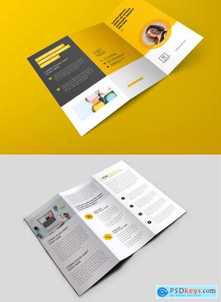 Creative Trifold Brochure with Yellow Accents 374984688