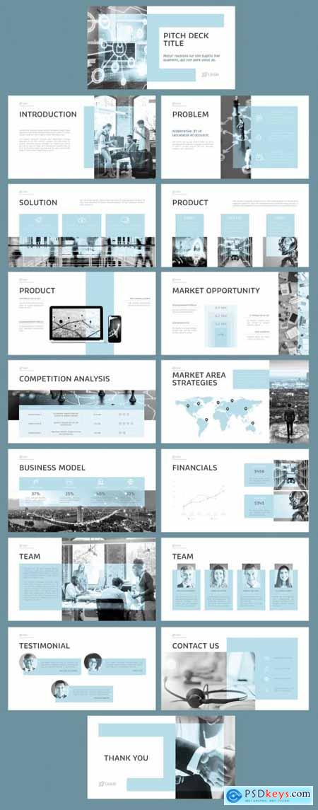 Pitch Deck Blue and Grey Design Layout 375648113