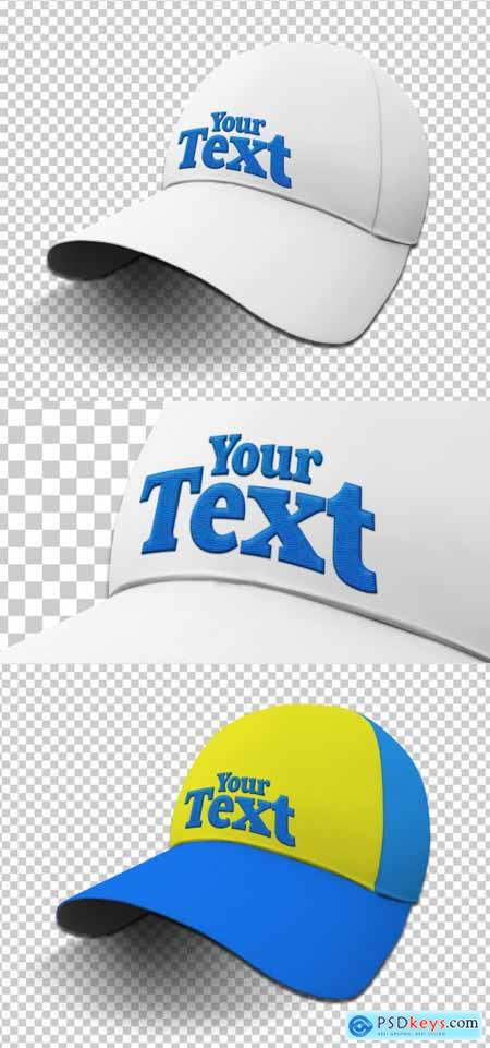 Colorful Isolated Cap Mockup with a Embroidery Text Effect 378394930