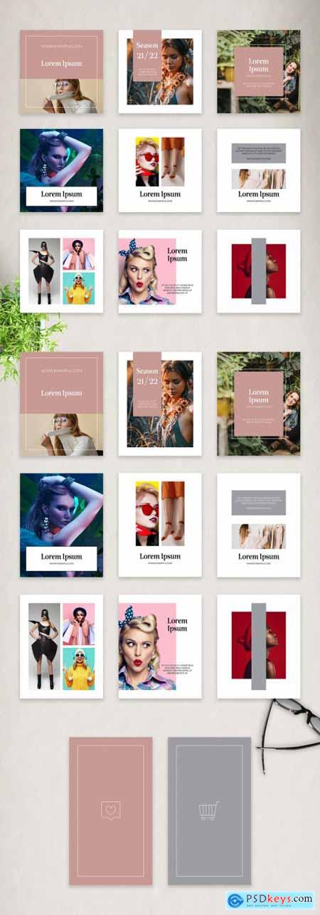Fashion Social Media Stories, Square Vertical Photo Posts Layout Set 376981325