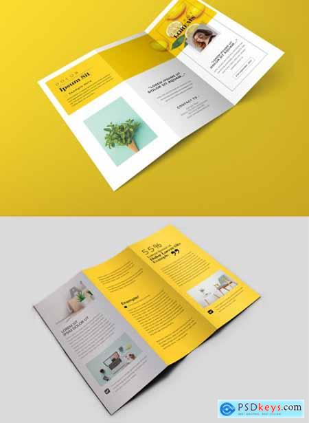 Minimal Trifold Brochure with Yellow Accents 374984820
