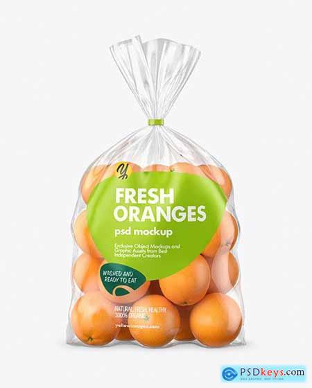 Plastic Bag with Oranges Mockup 66995