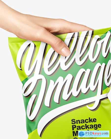 Matte Snack Package in a Hand Mockup 67218
