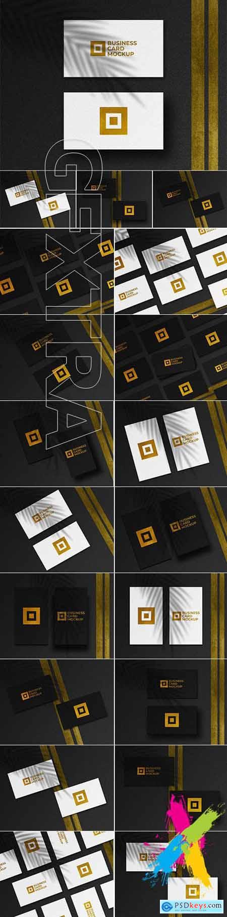 Modern golden business cards mockup