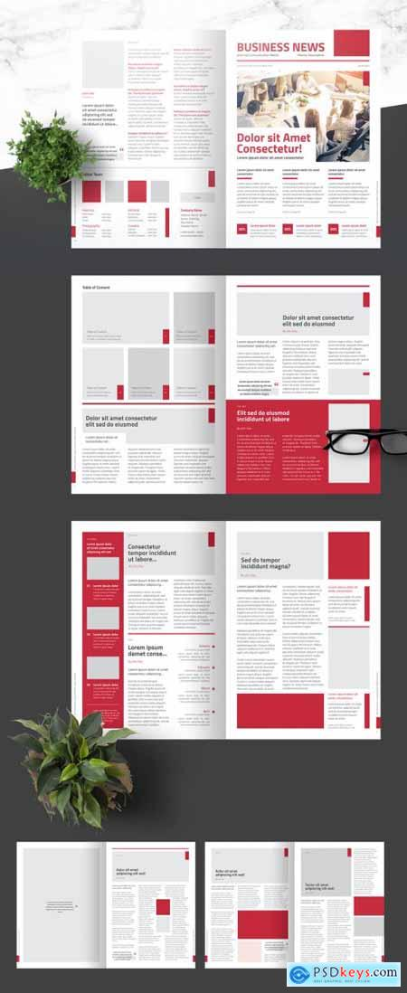 Business Newsletter with Light Red Accents 376974323