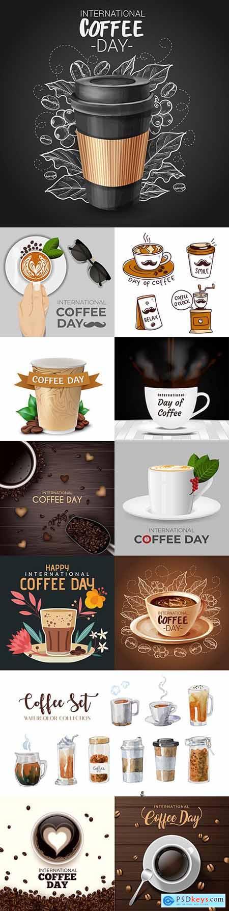 International coffee day with splashes and smoke