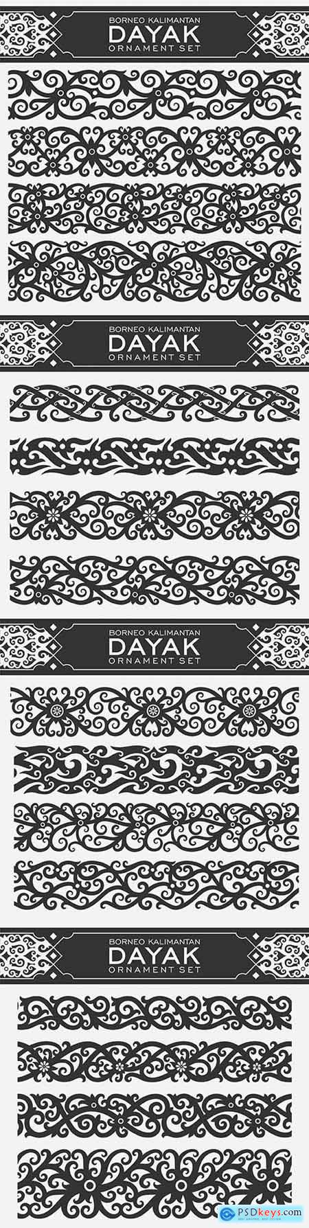 Borneo Kalimantan Dayak ornament set illustration design