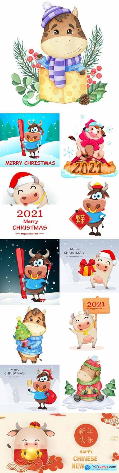 Bull Chinese calendar symbol 2021 cartoon illustration