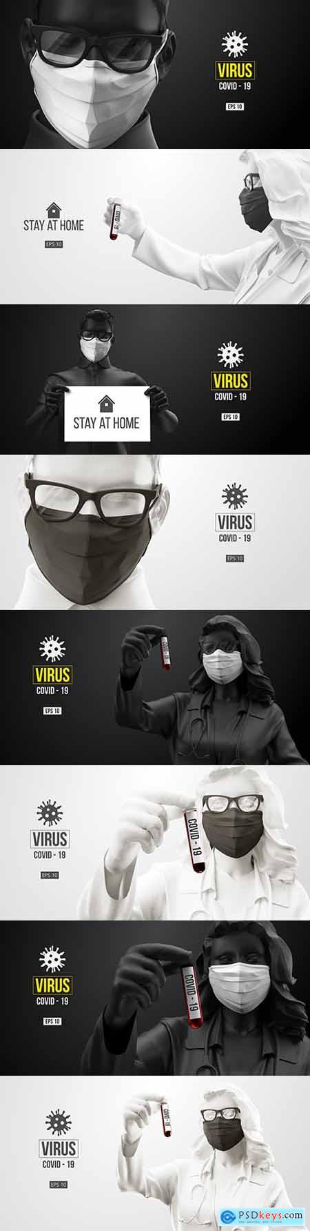 Coronavirus people in medical mask and virus protection