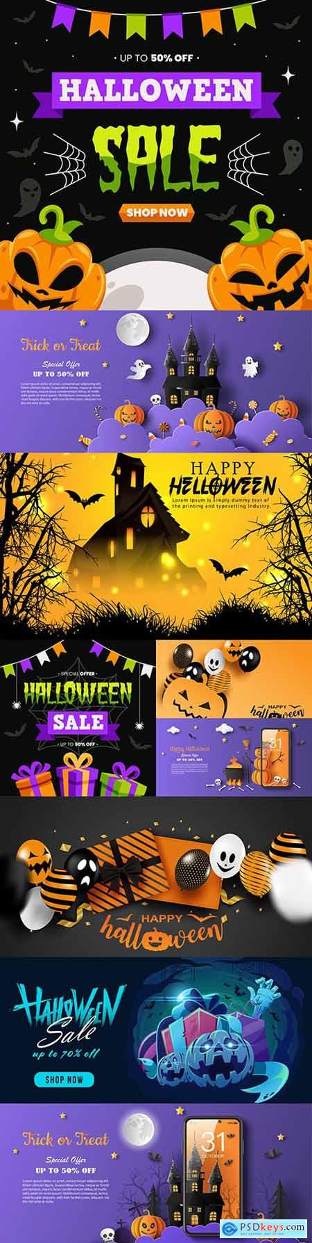 Happy Halloween holiday illustration collection design 10