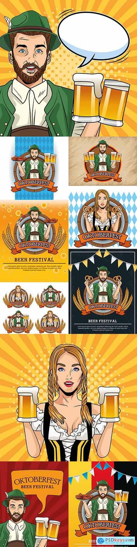 Oktoberfest festival beer party vintage illustration 6