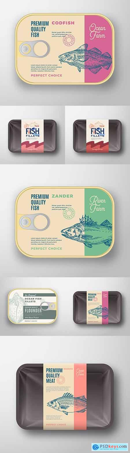 Package and container for fish with lid for label design