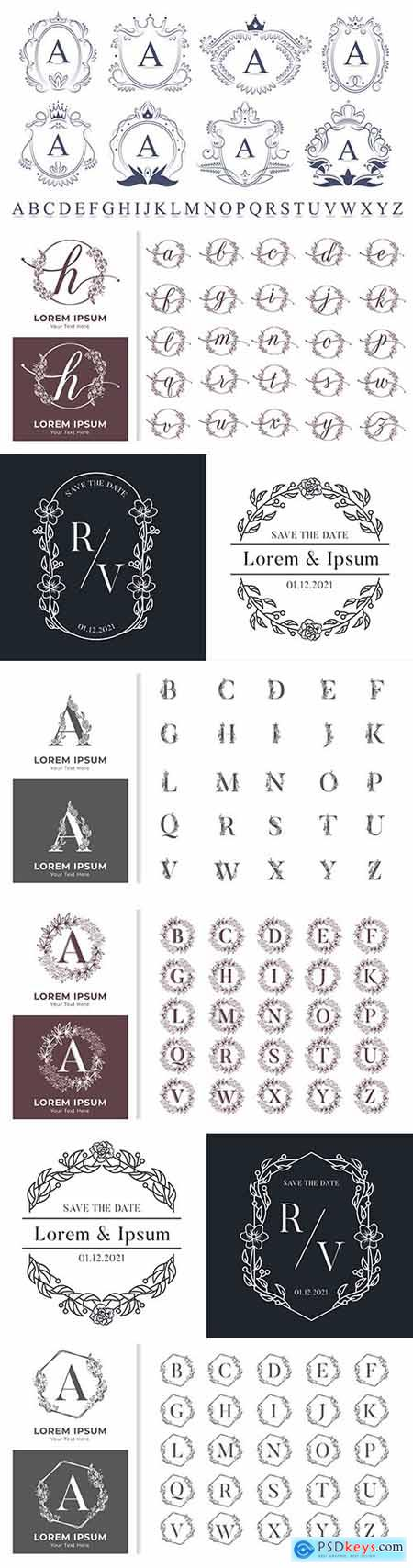 Decorative luxury monogram alphabet with floral frames
