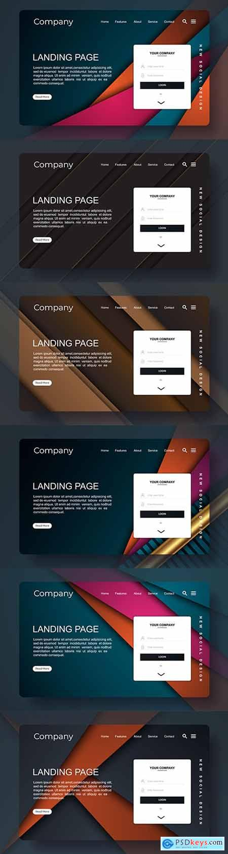 Landing page with abstract background design template