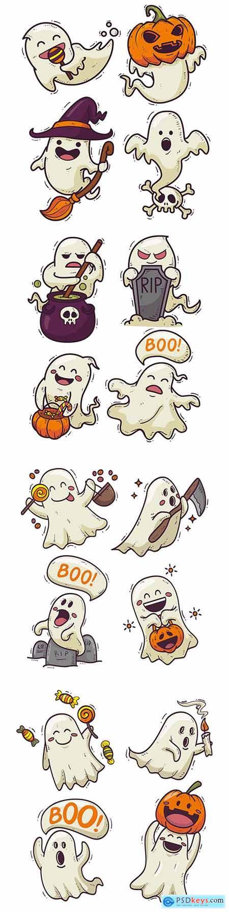 Halloween cartoon ghost drawn illustrations