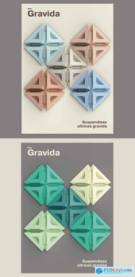 3D Poster Layout with Geometric Shapes Pattern Background 374191414