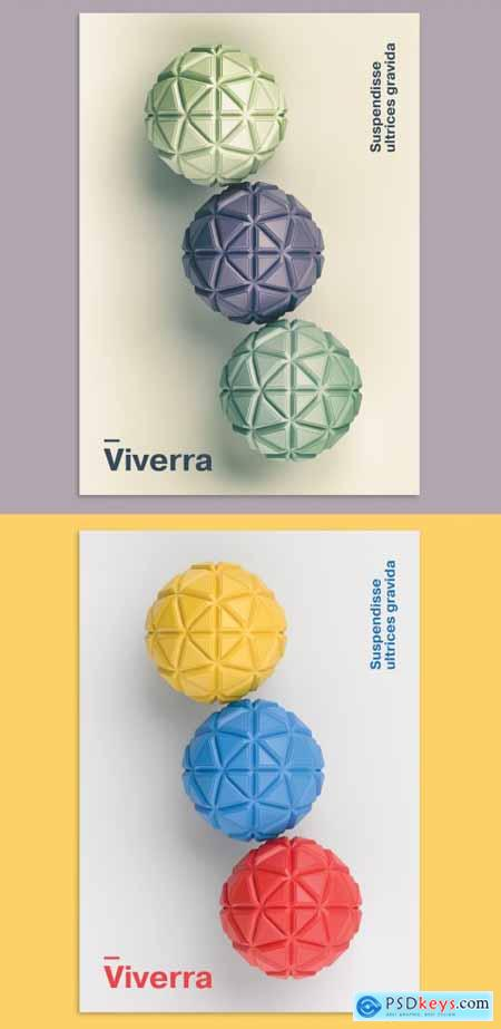 Abstract Geometric Background 3D Spheres Design Poster Layout 374191567