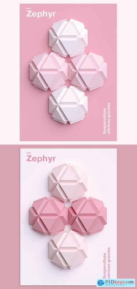 Minimal 3D Poster Design Layout with Geometric Shapes Art 377384568