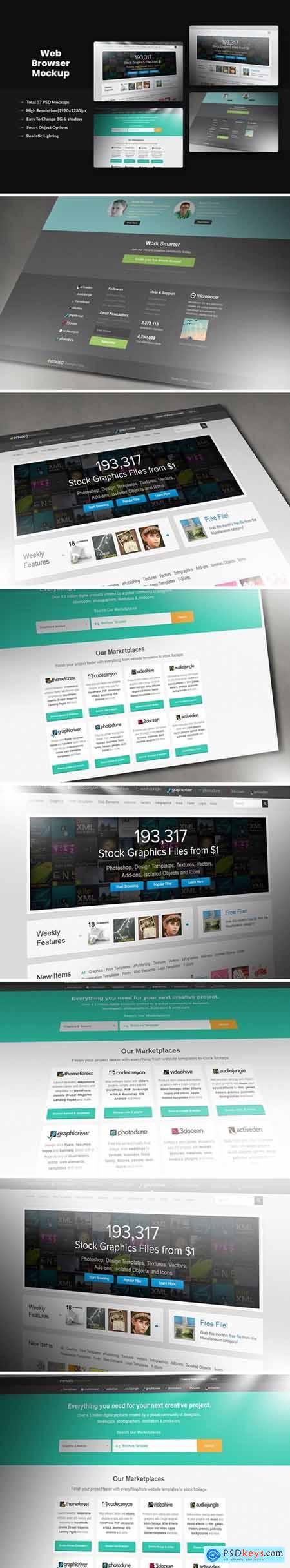 Photorealistic Pixel Screen Web-Browser Mockup