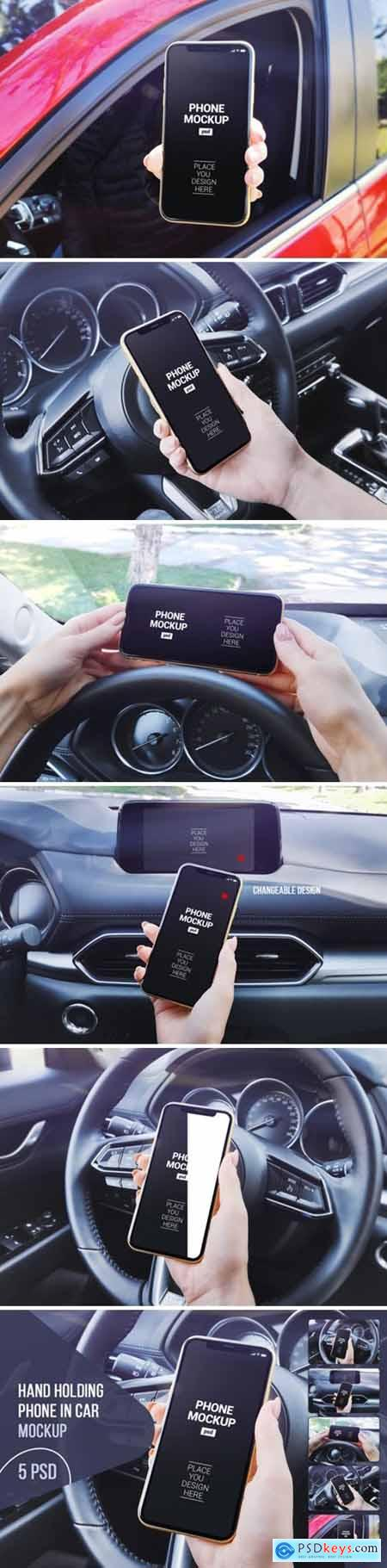 Hand Holding Phone in Car Mockup