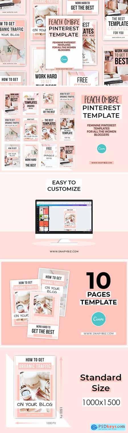 Peach Ombre Canva Pinterest Template 5609776
