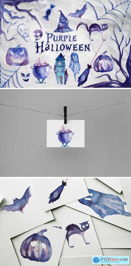 Watercolor Purple Halloween Clipart 5612247