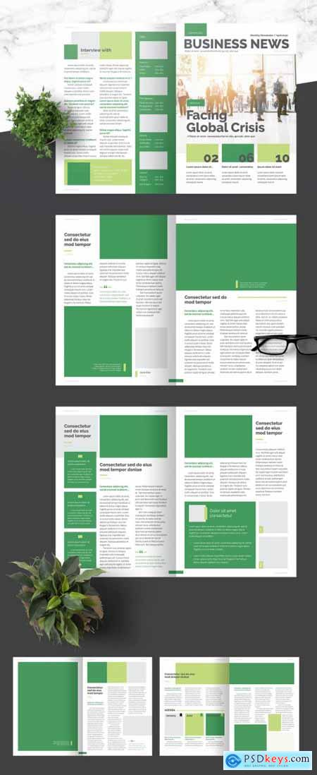 Business Newsletter with Green Accents 376974322