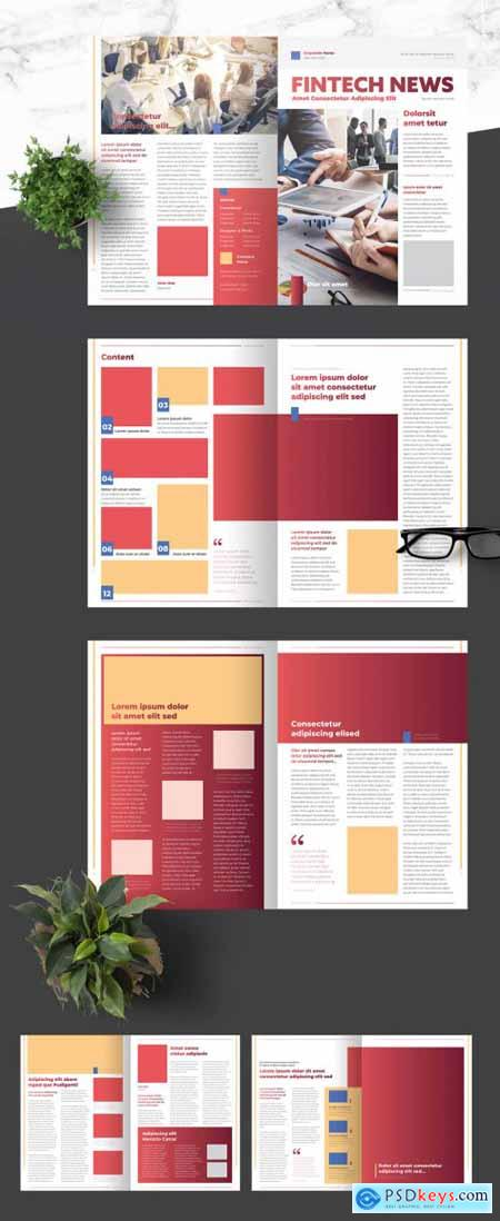 Business Newsletter with Light Red Accents 376974331