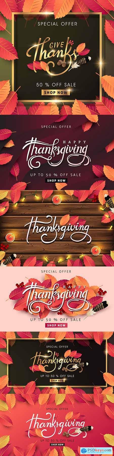 Thanksgiving autumn background calligraphic design inscriptions