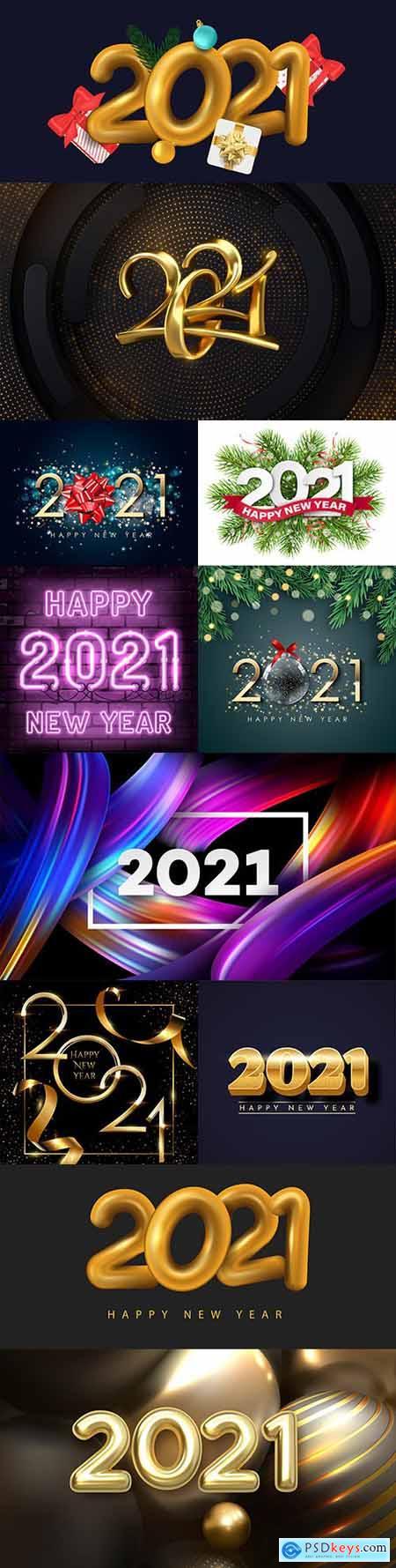 Happy New Year 2021 decorative design inscription