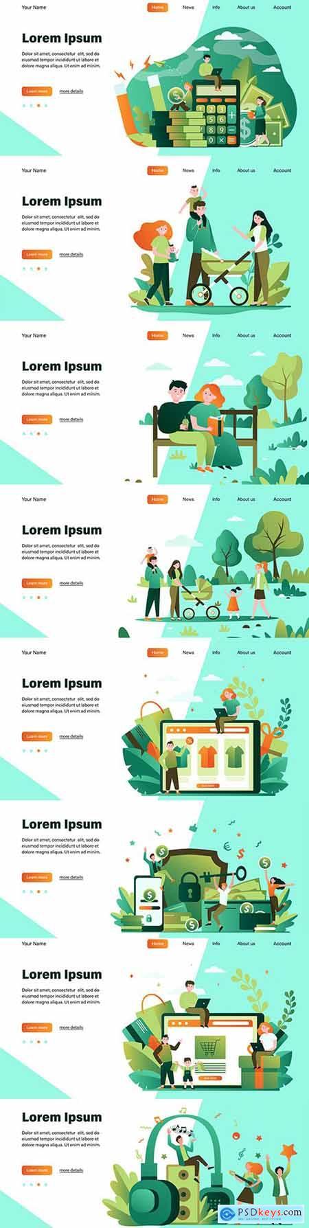 Happy People flat illustration design target web page