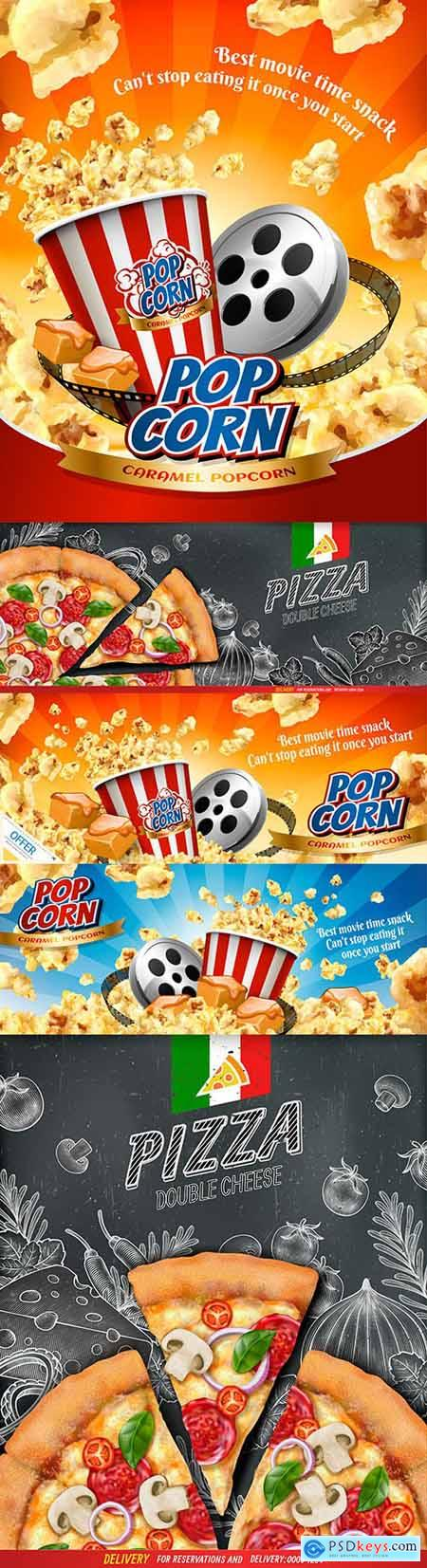 Poster with popcorn and pizza banner food advertisement