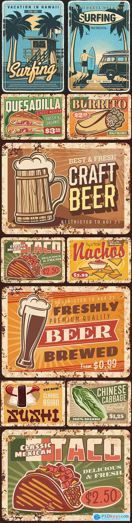 Rusty metal signage food menu restaurant vintage design