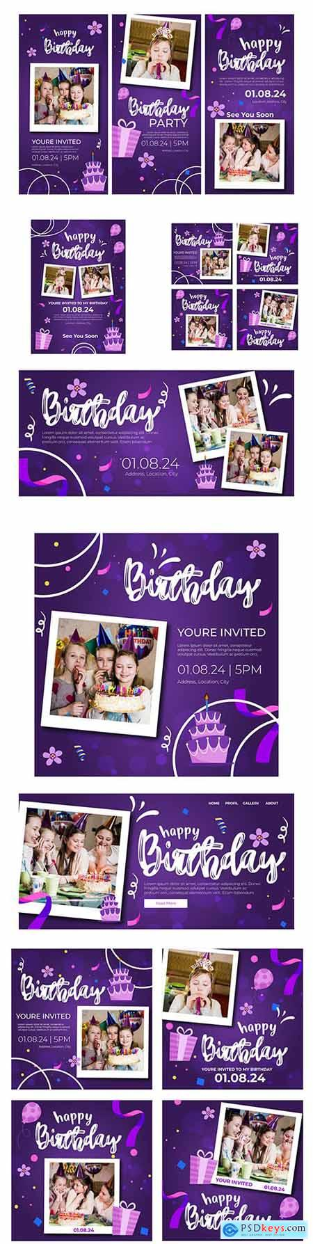 Childrens birthday banner and instagram posts