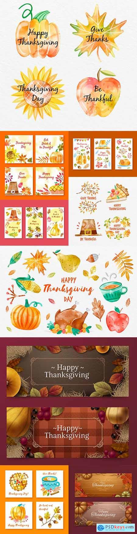 Thanksgiving collection of instagram watercolor design posts