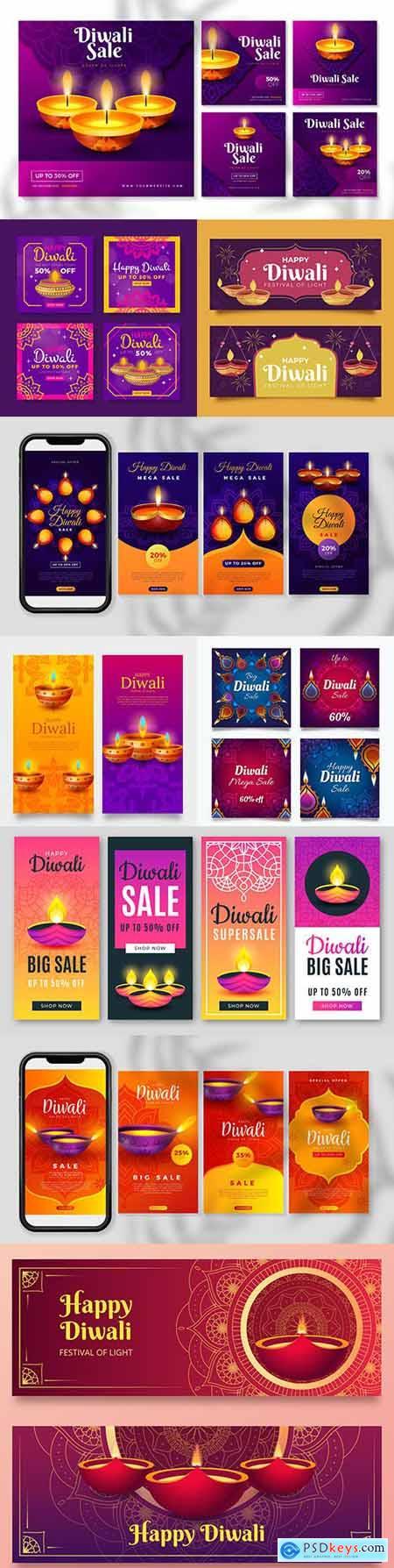 Diwali Indian traditional culture decoration illustration 6