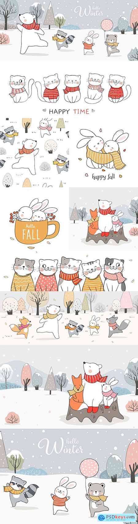Hello winter forest animals cartoon drawn illustrations