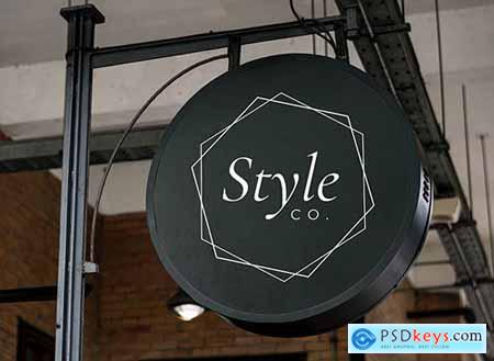 Hanging round black shop sign mockup 844149