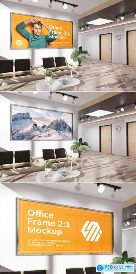 Frame Hanging on Office Wall Mockup 381760321