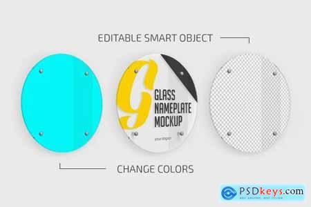 Round Glass Nameplate Mockup 5420957