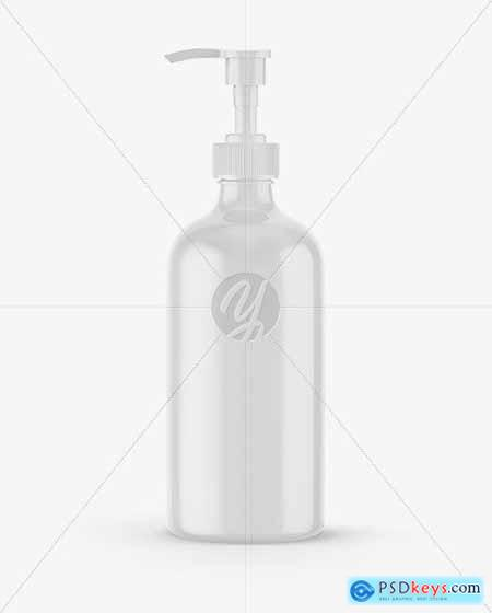 Glossy Cosmetic Bottle with Pump Mockup 67778