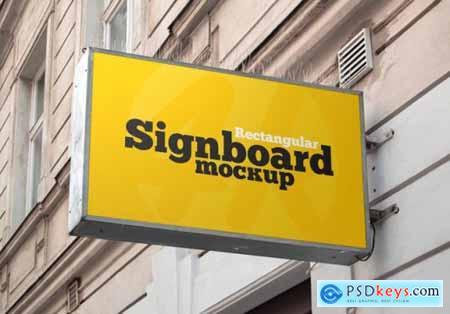 Metallic rectangular signboard mockup