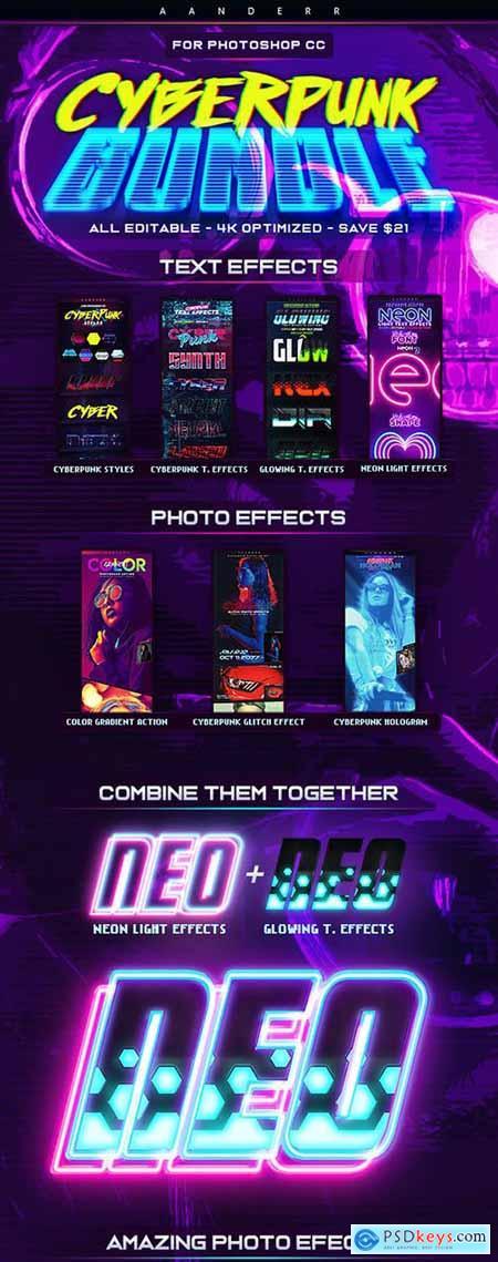 Cyberpunk Photoshop Effects Bundle 28590685